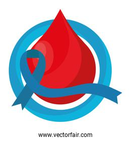 blue ribbon campaign in blood drop