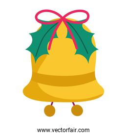 merry christmas bell with leaves decoration and celebration icon