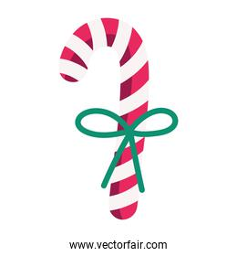 merry christmas candy cane with ribbon decoration and celebration icon