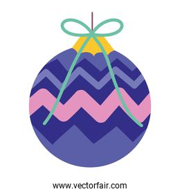 merry christmas purple ball decoration and celebration icon