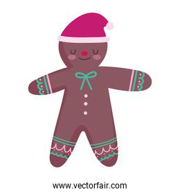 merry christmas gingerbread man with hat decoration and celebration icon