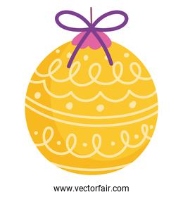 merry christmas yellow ball decoration and celebration icon