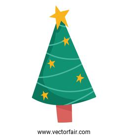 merry christmas tree with stars decoration and celebration icon