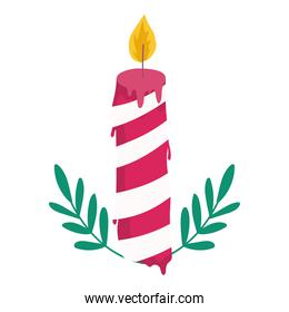 merry christmas candle with leaves decoration and celebration icon
