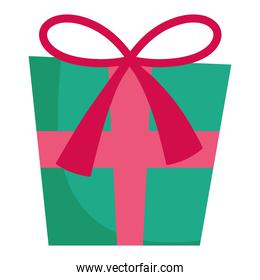merry christmas wrapped gift box decoration and celebration icon