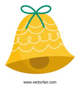 merry christmas golden bell with bow decoration and celebration icon