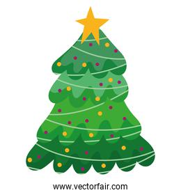merry christmas tree with balls decoration and celebration icon