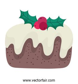merry christmas cake with holly berry decoration and celebration icon
