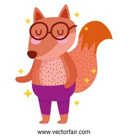 cute little fox with glasses and pants cartoon
