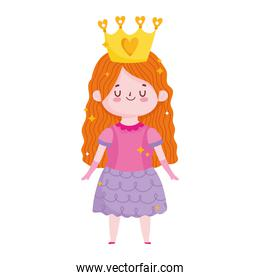 cute little princess with crown cartoon on white background