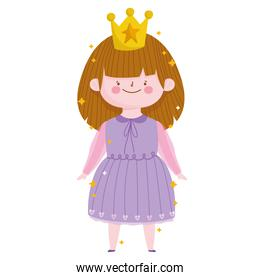 cute little princess with crown in purple dress cartoon on white background