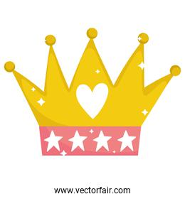golden crown heart stars jewelry monarchy cartoon icon