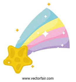shooting star rainbow dream magic cartoon icon