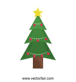 christmas tree with golden and red stars decoration ornament