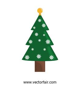 christmas tree with golden ball and snowflakes decoration season