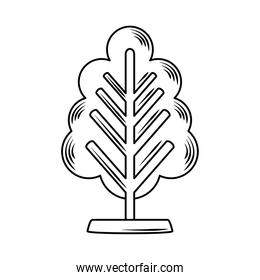 tree trunk branch decoration linear style icon