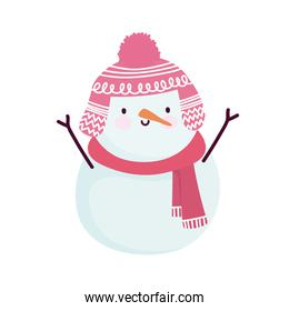merry christmas snowman with scarf and winter pink hat cartoon icon