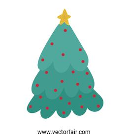 merry christmas cute tree with star and balls cartoon icon