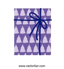 gift box with bow and trees celebration party icon white background