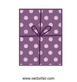 purple dots gift box celebration party icon white background