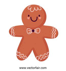 merry christmas gingerbread man cartoon icon