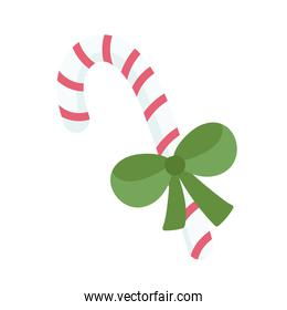 merry christmas striped candy cane with bow cartoon icon