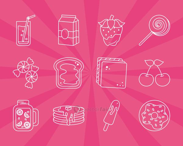 lollipop and candies icon set, line style