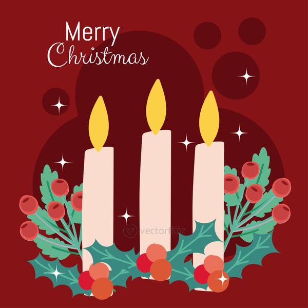 merry christmas candles holly berry greeting card