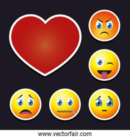 red heart and emojis icon set, colorful design