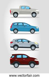 pickups and suvs icon set, colorful design