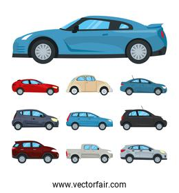 blue sport car and cars icon set, colorful design