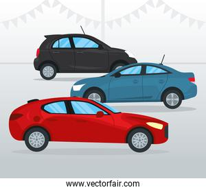 red hatchback car and cars, colorful design