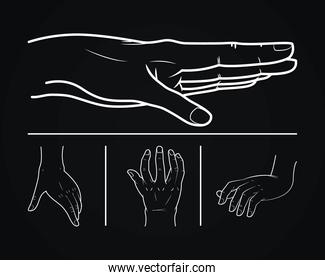 sketch of hands icon set, vector illustration