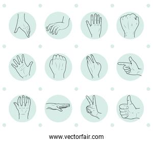 human hands icon set, sketch style