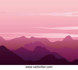 pink and purple landscape with silhouettes of beautiful mountains and hills