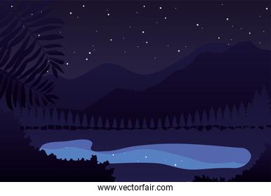 Night Mountains landscape with lake and stars on the sky, colorful design