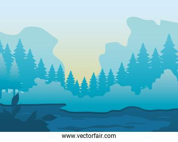 river and mountains landscape with pine trees around