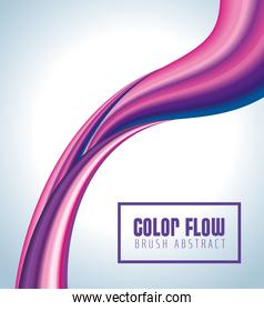 purple color flow poster with square frame in gray background