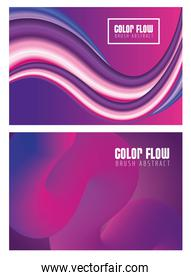 purple color flow posters with letterings in purple background