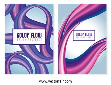 two colors flow posters in gray colors backgrounds