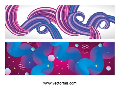 purple and blue colors flow posters