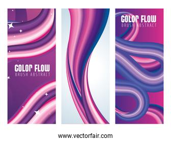 three color flow posters in purple and white backgrounds