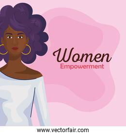 women empowerment with black woman cartoon from side vector design