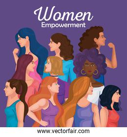 women empowerment with women cartoons from side doing muscle sign vector design