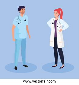 doctor woman and man isometric vector design