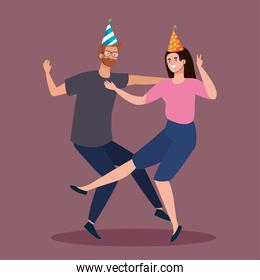 woman and man dancing with party hat vector design