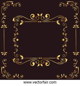 gold ornament frame on brown background