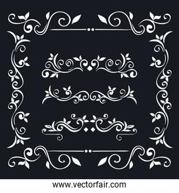 white ornaments in frame on blue background vector design