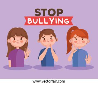 stop bullying and sad girls and boy kids vector design