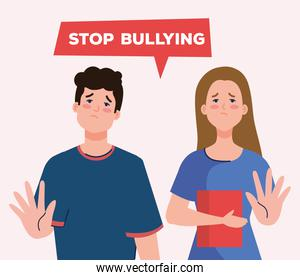 stop bullying and sad girl and boy kids with book vector design